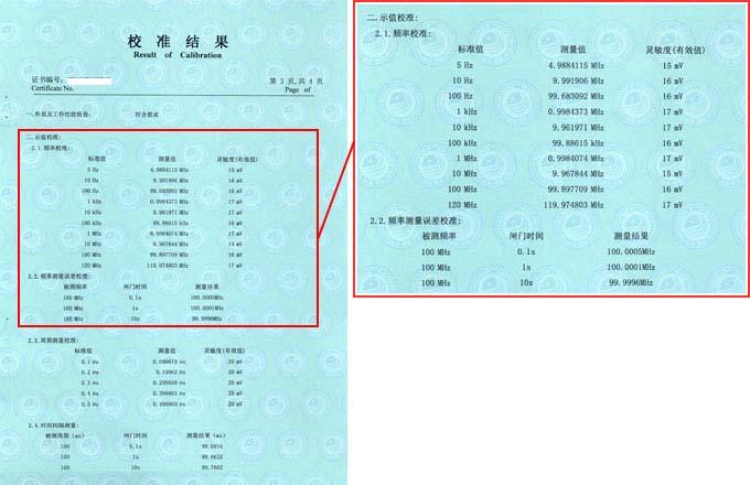 数据采集器校准证书结果页图片