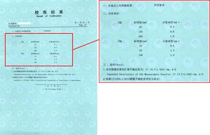 垂直弹性试验机校准证书结果页图片